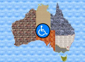 Australia map with each state and territory shown in differing brick and stone or other building material colour, with International Symbol of Access