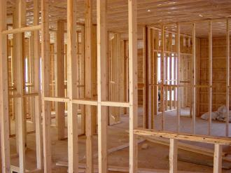 Domestic house being built at timber frame stage