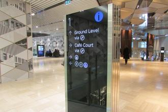 Shopping Centre wayfinding location directory signage, in open area of a plaza