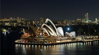 Sydney Opera House view at night with beautiful lights