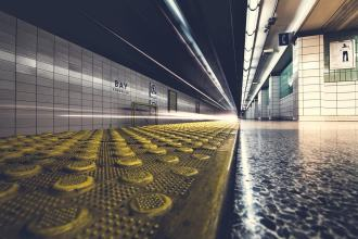 Sydney railway platform with tactile ground surface indicators in close up view