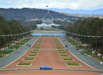 View of Parliament House in Canberra