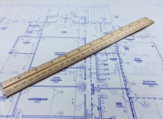 Architectural drawing with a ruler