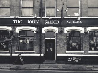 Old fashioned English style pub, black and white photo