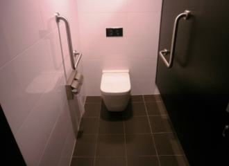 View inside an ambulant toilet in a modern toilet block